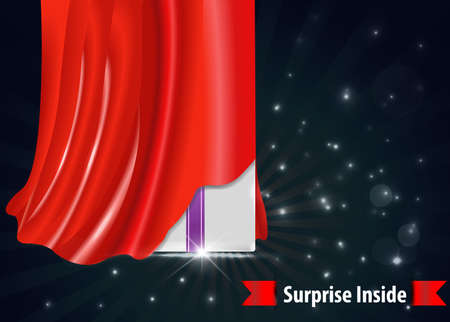 coming soon: surprise gift box with red curtain design template- vector eps10
