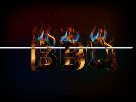 sizzling: hot barbecue label, bbq party invite isolated on black background - vector eps10