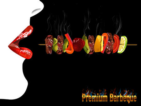 pork meat: BBQ Barbecue Menu, Party invitation, red lips girl - vector eps10