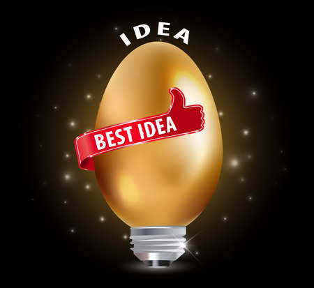 best idea: best idea concept with golden egg and thumbs up - vector eps10 Illustration