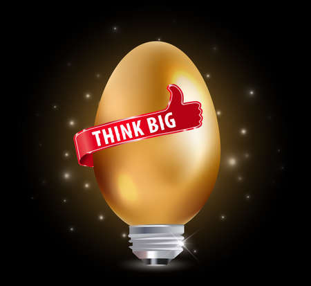 think up: Think big idea concept with bulb and thumbs up sign - vector eps10