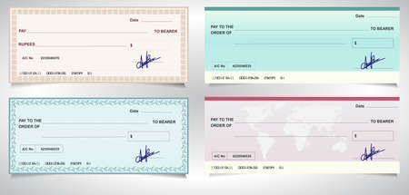 check: BANK CHECK, bank cheque - Vector eps10