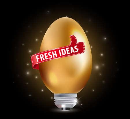 fresh idea: Fresh idea art design concept with golden egg - vector eps 10