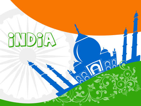India tourism, india travel with taj mahal agra background - vector eps10 Vector