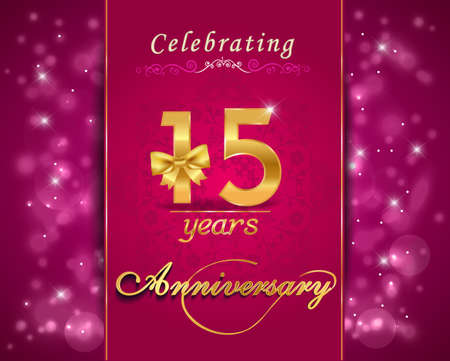 15 year anniversary celebration sparkling card, vibrant background - vector eps10 Vector