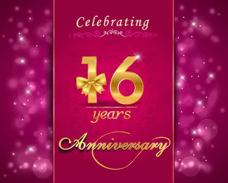 vibrant: 16 year anniversary celebration sparkling card, vibrant background - vector eps10