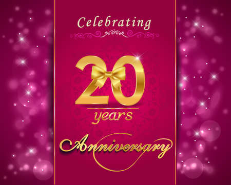 20 year anniversary celebration sparkling card, vibrant background - vector eps10 Vector