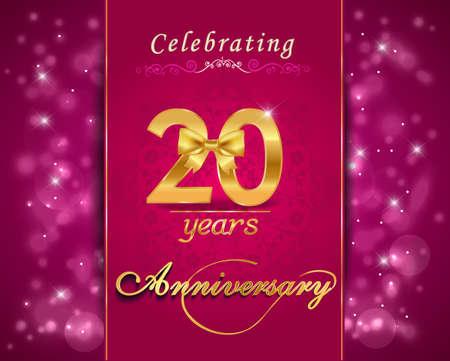 vibrant background: 20 year anniversary celebration sparkling card, vibrant background - vector eps10