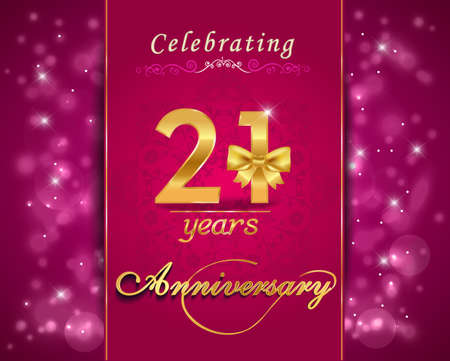 21 year anniversary celebration sparkling card, vibrant background - vector eps10