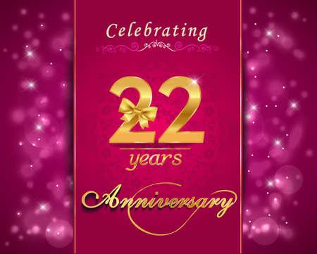 vibrant background: 22 year anniversary celebration sparkling card, vibrant background - vector eps10