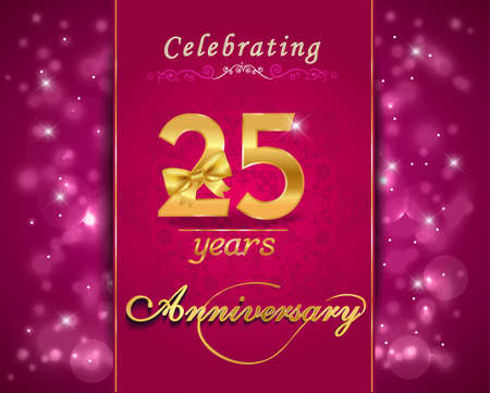 wedding anniversary: 25 year anniversary celebration sparkling card, vibrant background - vector eps10