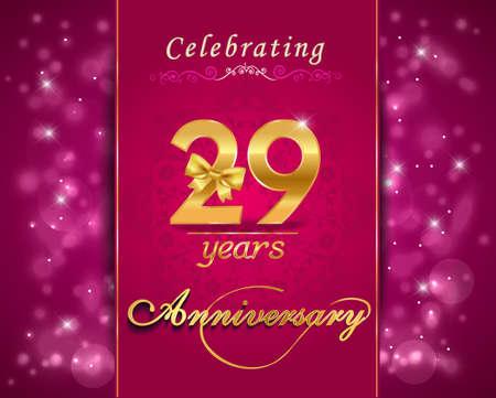 vibrant background: 29 year anniversary celebration sparkling card, vibrant background - vector eps10 Illustration