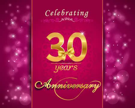 vibrant background: 30 year anniversary celebration sparkling card, vibrant background - vector eps10