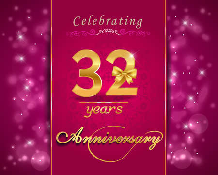 vibrant background: 32 year anniversary celebration sparkling card, vibrant background - vector eps10 Illustration