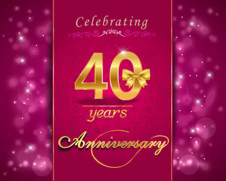 40: 40 year anniversary celebration sparkling card, vibrant background - vector eps10