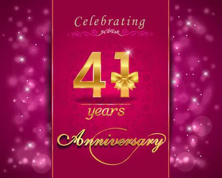 vibrant background: 41 year anniversary celebration sparkling card, vibrant background - vector eps10
