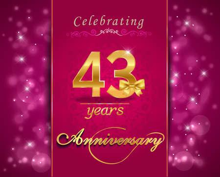 vibrant background: 43 year anniversary celebration sparkling card, vibrant background - vector eps10 Illustration
