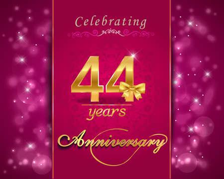 vibrant: 44 year anniversary celebration sparkling card, vibrant background - vector eps10
