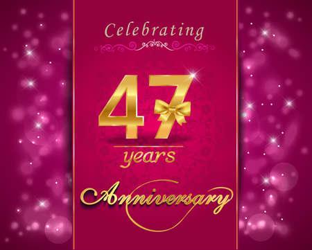 vibrant background: 47 year anniversary celebration sparkling card, vibrant background - vector eps10