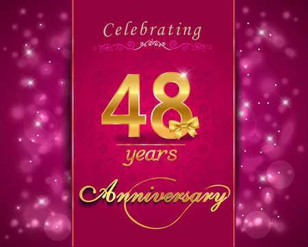vibrant background: 48 year anniversary celebration sparkling card, vibrant background - vector eps10