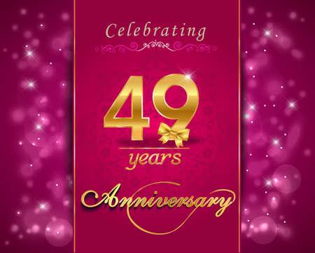 vibrant: 49 year anniversary celebration sparkling card, vibrant background - vector eps10