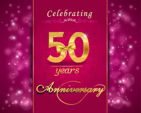 wedding anniversary: 50 year anniversary celebration sparkling card, vibrant background - vector eps10