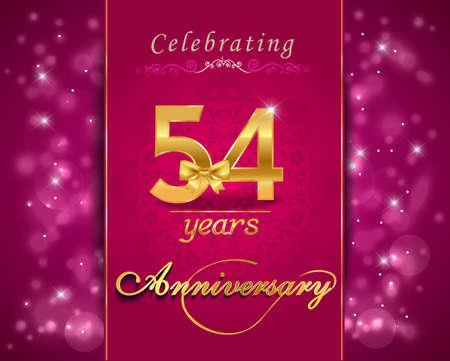 vibrant background: 54 year anniversary celebration sparkling card, vibrant background - vector eps10