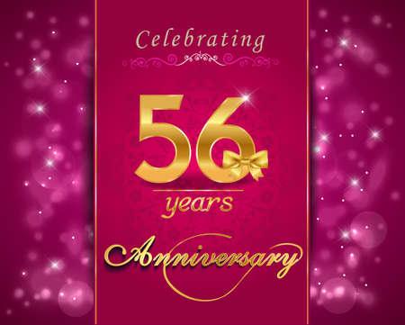 vibrant background: 56 year anniversary celebration sparkling card, vibrant background - vector eps10