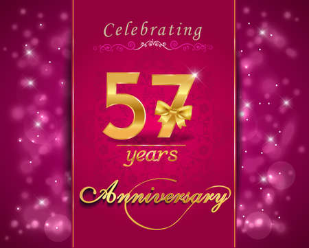 57: 57 year anniversary celebration sparkling card, vibrant background - vector eps10