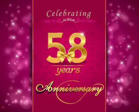vibrant background: 58 year anniversary celebration sparkling card, vibrant background - vector eps10 Illustration