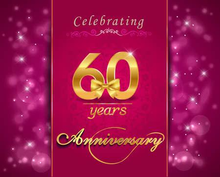 vibrant background: 60 year anniversary celebration sparkling card, vibrant background - vector eps10 Illustration