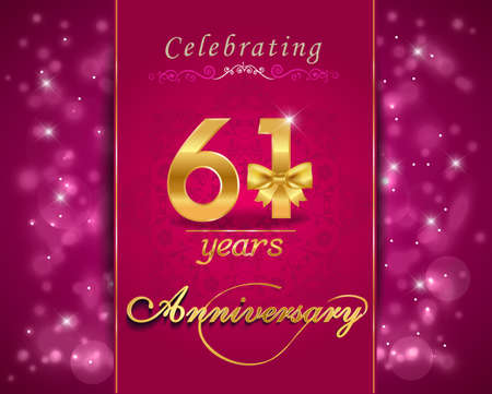 anniversary backgrounds: 61 year anniversary celebration sparkling card, vibrant background - vector eps10 Illustration