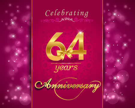 anniversary backgrounds: 64 year anniversary celebration sparkling card, vibrant background - vector eps10