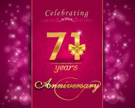71 year anniversary celebration sparkling card, vibrant background - vector eps10 Illustration