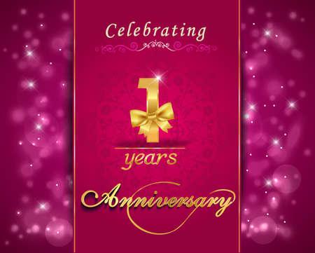 anniversary: 1 a�o celebraci�n del aniversario tarjeta brillante, vibrante fondo - vector eps10