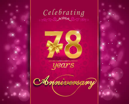 78: 78 year anniversary celebration sparkling card, vibrant background - vector eps10