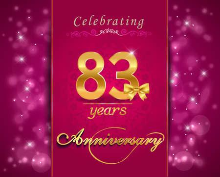 vibrant background: 83 year anniversary celebration sparkling card, vibrant background - vector eps10 Illustration