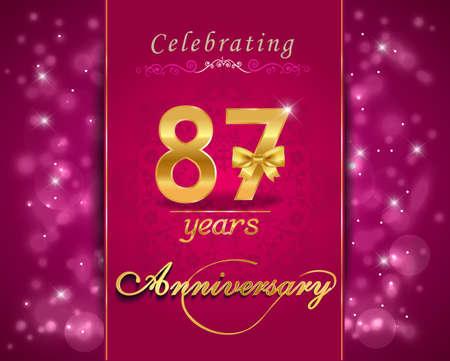 vibrant background: 87 year anniversary celebration sparkling card, vibrant background - vector eps10