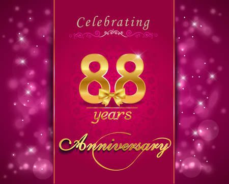 vibrant background: 88 year anniversary celebration sparkling card, vibrant background - vector eps10