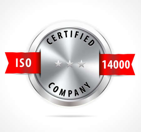 accepted: ISO 14000 certified, silver badge with red ribbon - vector eps10 Illustration