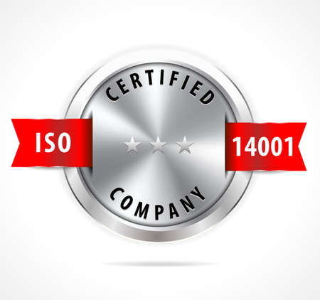 standardization: ISO 14001 certified, silver badge with red ribbon - vector eps10