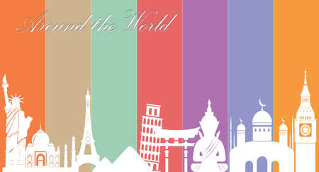 wonders: Wonders of World, Travel and tourism background-vector eps10