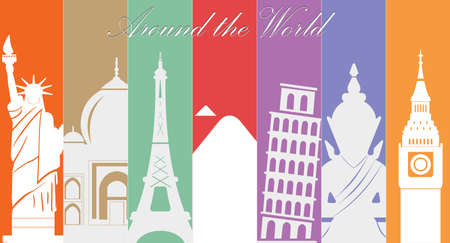 Maravillas del mundo, Viajes y turismo fondo-vector eps10 Vectores