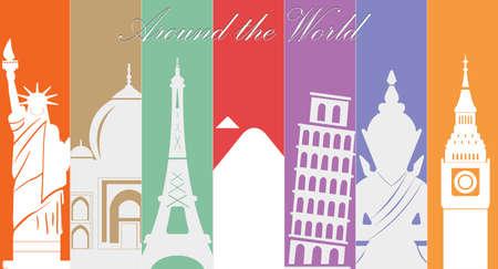 Meraviglie del Mondo, Viaggi e turismo background-vector eps10 Archivio Fotografico - 36710612