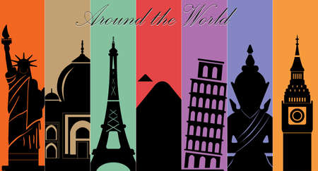 Wonders of World, Travel and tourism background-vector eps10