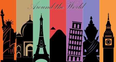 Meraviglie del Mondo, Viaggi e turismo background-vector eps10 Archivio Fotografico - 36710613