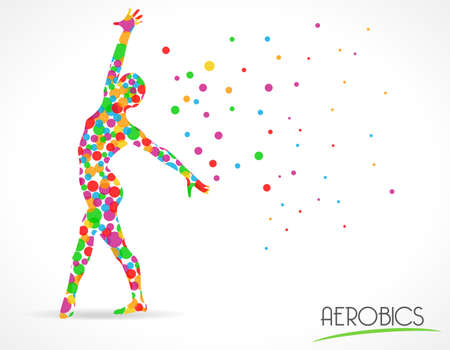 Abstract aerobics dance to slim, Yoga and dance Poses,flat color circle style graphic - vector eps10