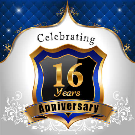 16 years: 16 years anniversary celebration, Golden sheild with blue royal emblem background