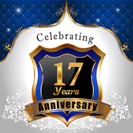 17 years: 17 years anniversary celebration, Golden sheild with blue royal emblem background