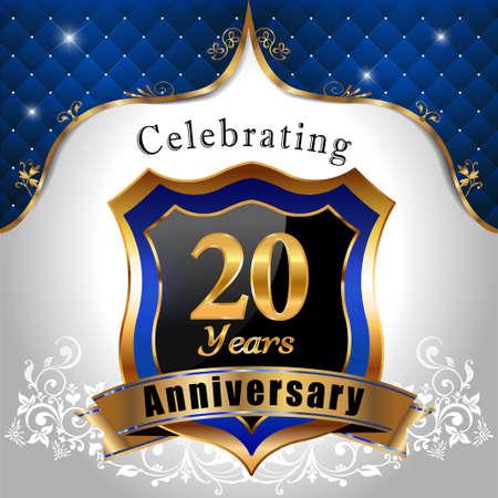sheild: 20 years anniversary celebration, Golden sheild with blue royal emblem background Illustration